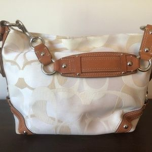 Coach Bag CARLY OPTIC Tan and Beige Canvas